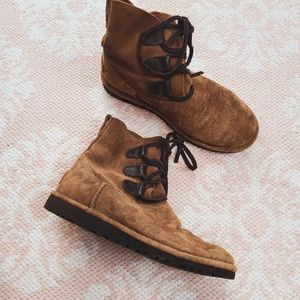 UGG Brown Leather Lace Up Boots Size 6